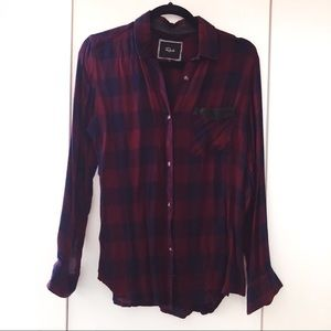 RAILS Maroon Blue Plaid Flannel Button Down Shirt